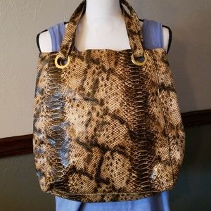 Handbags - FAUX PYTHON SNAKE PRINT TOTE